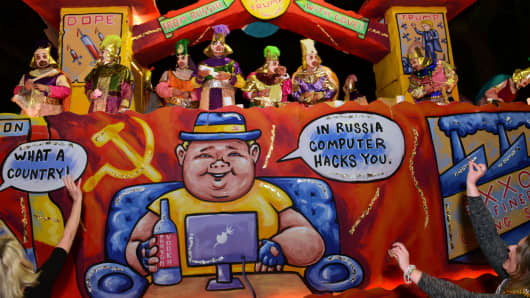 The carnival parading society Krewe D'Etat rolls its satirical float in New Orleans as part of the Mardi Gras celebrations on Feb. 23, 2017.