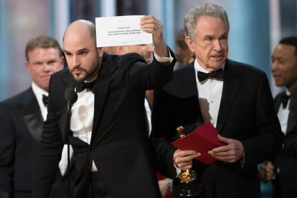 "Jordan Horowitz, producer of the movie ""La La Land,"" was forced to acknowledge the major error last night. Moonlight wins the Best Picture Oscar after a mishap that named La La Land the winner at the 89th Annual Academy Awards."