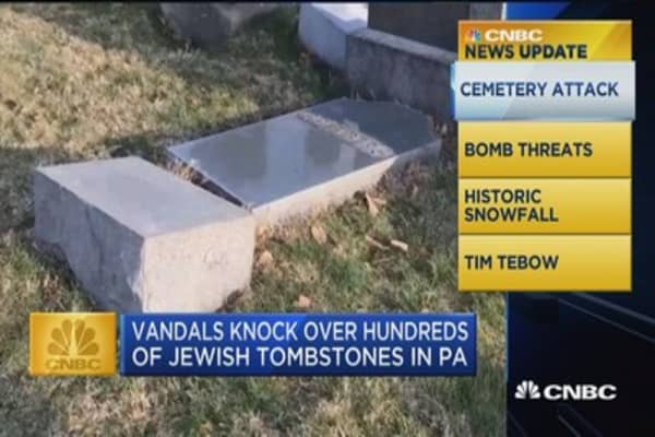 CNBC Update: Vandals knock over hundreds of Jewish tombstones in PA