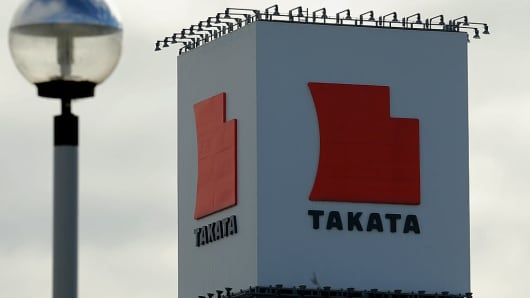 Signage for Takata are displayed at the company's Echigawa plant in Echigawa, Shiga, Japan, on Friday, Nov. 25, 2016.