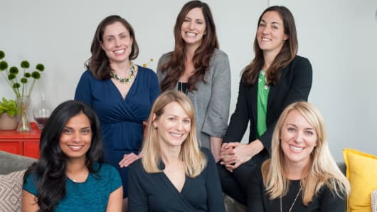The #Angels investment group. Pictured are: Left to right, top row: Chloe Sladden, Jana Messershcmidt Jessica Verrilli and Vijaya Gadde, Katie Stanton, April Underwood, left to right bottom row.