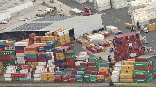 An aerial general view of shipping containers at The Port of Melbourne in Melbourne, Australia.