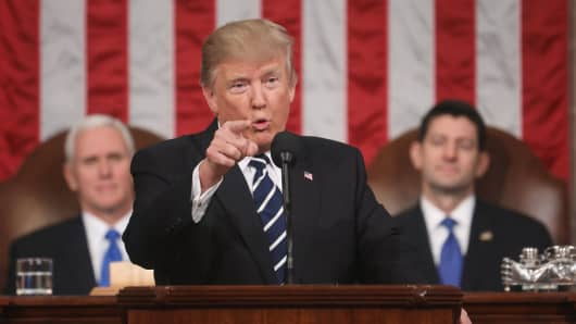 President Donald J. Trump delivers his first address to a joint session of Congress from the floor of the House of Representatives in Washington, DC, USA, 28 February 2017.