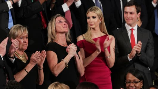 Widow of Fallen Navy Seal, Senior Chief William Owens, Carryn Owens attend attend a joint session of the U.S. Congress with U.S. President Donald Trump on February 28, 2017 in the House chamber of the U.S. Capitol in Washington, DC.