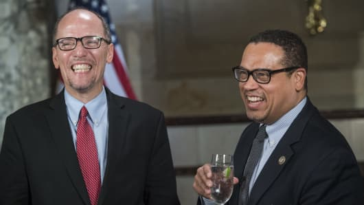 om Perez, left, chairman of the Democratic National Committee, and deputy chairman Rep. Keith Ellison, D-Minn., prepare for an interview in Statuary Hall before President Donald Trump addressed a joint session of Congress in the Capitol, February 28, 2017.