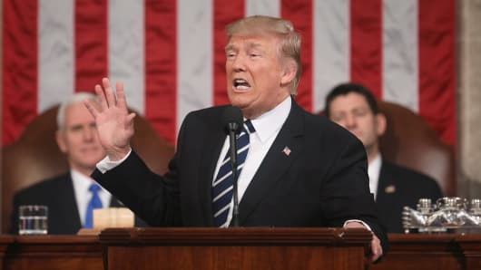 President Donald Trump, center, speaks during a joint session of Congress in Washington, D.C., on Tuesday, Feb. 28, 2017.