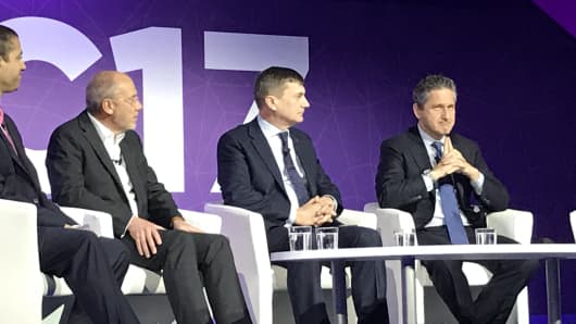 From left to right: Ajit Pai, chairman of the U.S. Federal Communications Commission, Stéphane Richard, CEO of Orange, Andrus Ansip, the vice president of the Digital Single Market for the European Commission, and Mike Mike Fries, CEO of Liberty Global. The panel was talking to CNBC's Karen Tso at Mobile World Congress in Barcelona, Spain, on February 28, 2017.