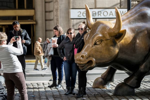 The Charging Bull sculpture in the Financial District of New York City