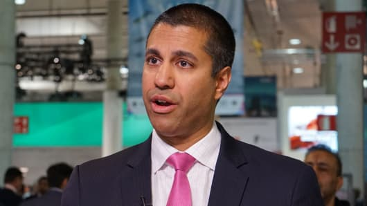 Ajit Pai, at the Mobile World Congress in Barcelona, Spain on February 28, 2017.
