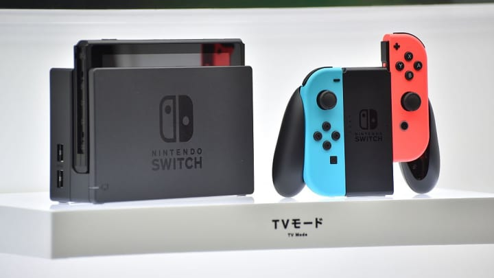 Nintendo's new video game console Switch is displayed at a presentation in Tokyo on January 13, 2017.