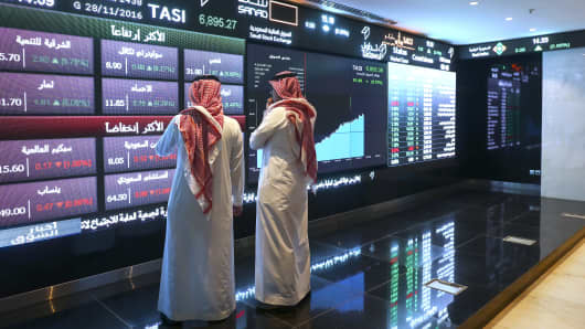 The Saudi Stock Exchange, also known as the Tadawul All Share Index, in Riyadh, Saudi Arabia