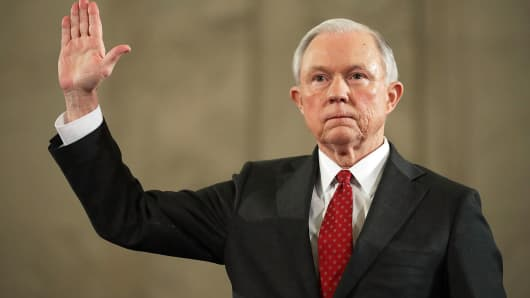Sen. Jeff Sessions is sworn in before the Senate Judiciary Committee during his confirmation hearing to be the U.S. attorney general January 10, 2017 in Washington, DC.