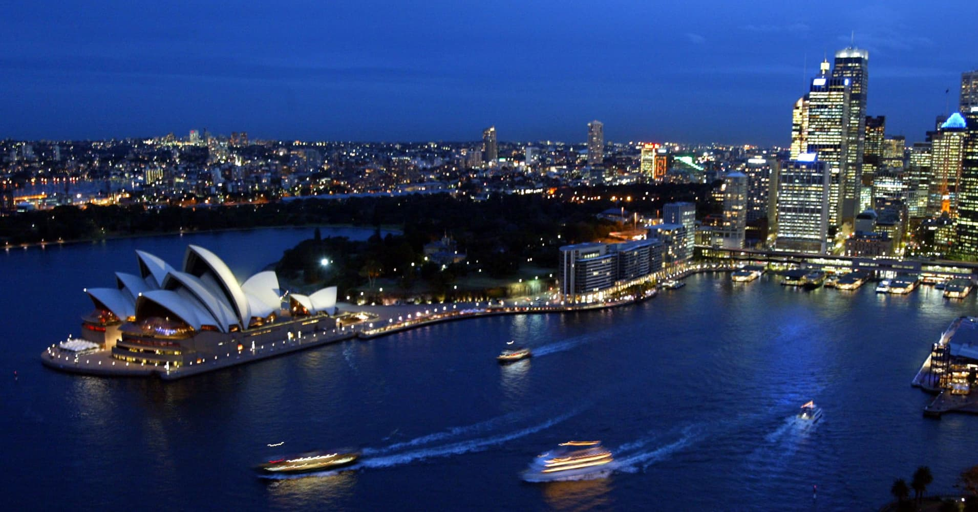 A general view of the Sydney Opera House from the Sydney Harbour Bridge