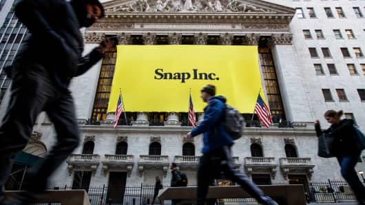 Signage for Snap Inc., parent company of Snapchat, adorns the front of the New York Stock Exchange in New York City.