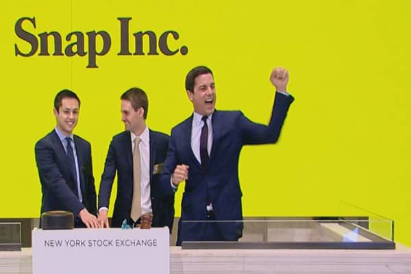 Snap founders ring opening bell before IPO