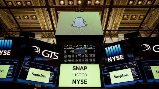 Signage for Snap Inc., parent company of Snapchat, is displayed on monitors on the floor New York Stock Exchange (NYSE) before the opening bell, March 2, 2017 in New York City.
