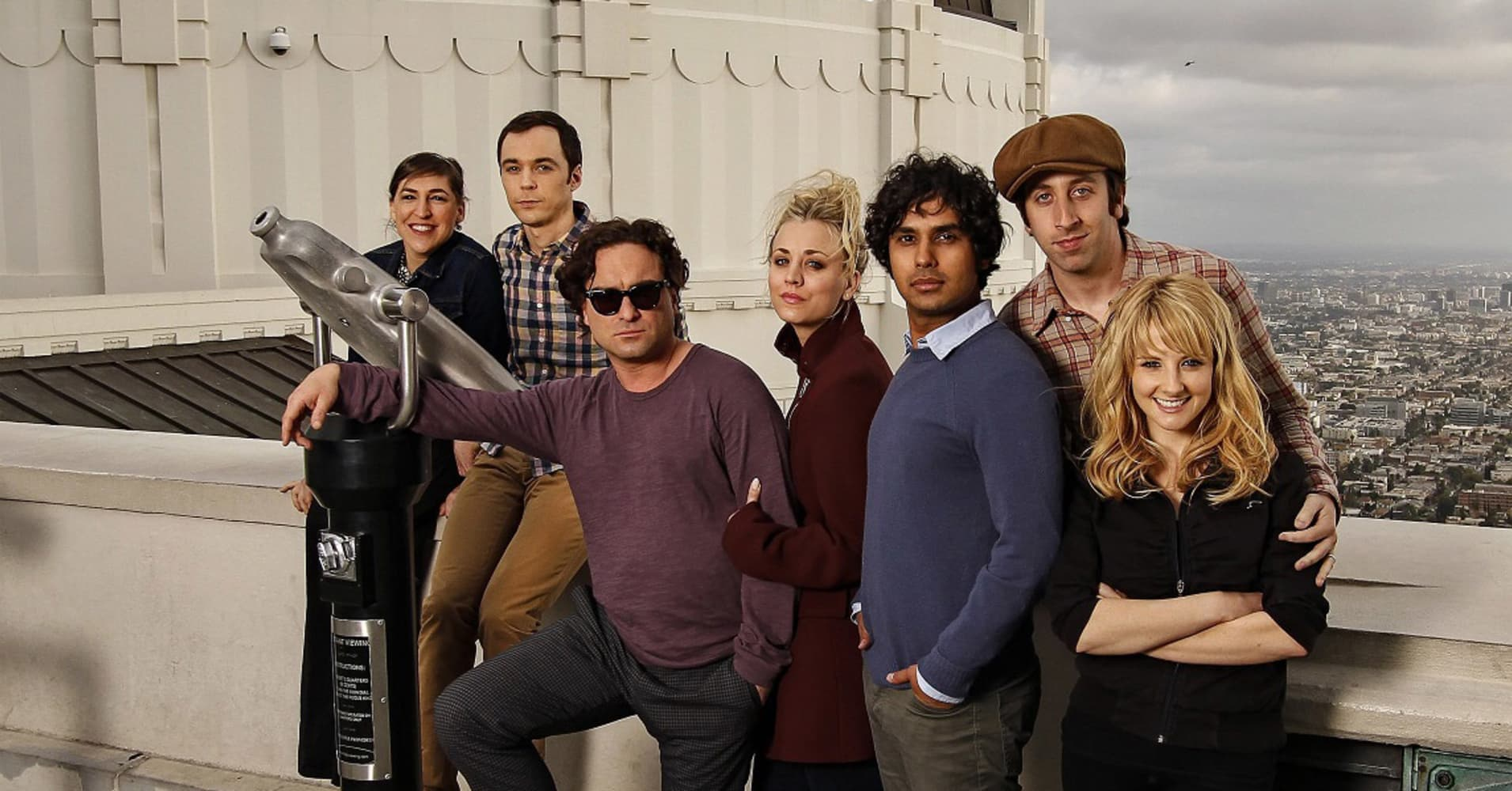 CBS TV comedy series The Big Bang Theory's cast - Lt to Rt: Mayim Bialik, Jim Parsons, Johnny Galecki, Kaley Cuoco, Kunal Nayyar, Simon Helberg and Melissa Rauch, at Griffith Observatory.