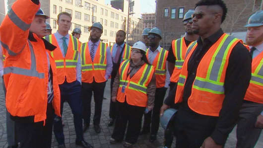 As part of the Miami Dolphins Business Combine, players get a first-hand look at the construction taking place at Hudson Yards.
