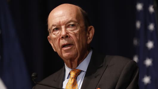 Commerce Secretary Wilbur Ross speaks to department employees March 1, 2017 in Washington, DC. Ross, who was confirmed earlier in the week, spoke about his vision for changing the department.