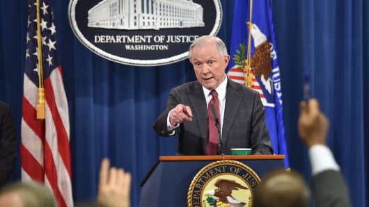 Attorney General Jeff Sessions answers questions during a press conference at the US Justice Department on March 2, 2017, in Washington DC.