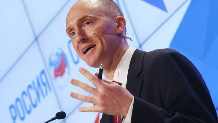 Carter Page, makes a presentation titled 'Departing from Hypocrisy: Potential Strategies in the Era of Global Economic Stagnation, Security Threats and Fake News' during his visit to Moscow, December 12, 2016.