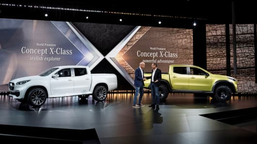 Dr. Dieter Zetsche and Volker Mornhinweg, Head of Mercedes-Benz Vans present the new Mercedes-Benz Pickup at a press event held at the art gallery Artipelag in Stockholm, Sweden on October 25, 2016.