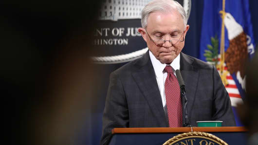 Attorney General Jeff Sessions answers questions during a press conference at the Department of Justice on March 2, 2017 in Washington, DC.