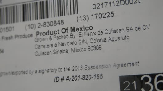 A product of Mexico label on a box of vegetables at the Ciruli Brother's CCMV Warehouse in Nogales, AZ.