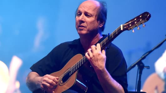Musician Adrian Belew performs at Celebrating David Bowie at the Wiltern Theatre on January 24, 2017 in Los Angeles.