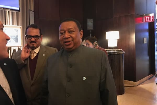 OPEC Secretary General Mohammed Barkindo (R)