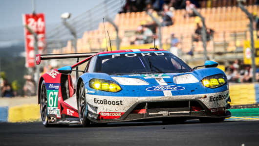 LMGTE PRO Ford Chip Ganassi Team UK (USA), #67 Ford GT, with Drivers Marino Franchitti (GBR), Andy Priaulx (GBR) and Harry Tincknell (GBR) during the 84th running of the Le Mans 24 Hours on June 19, 2016 in Le Mans, France. Ford said 3D printing could help it more efficiently produce components for low-volume models like racecars.