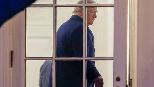President Donald J. Trump enters the Oval Office on March 5, 2017 in Washington, DC.