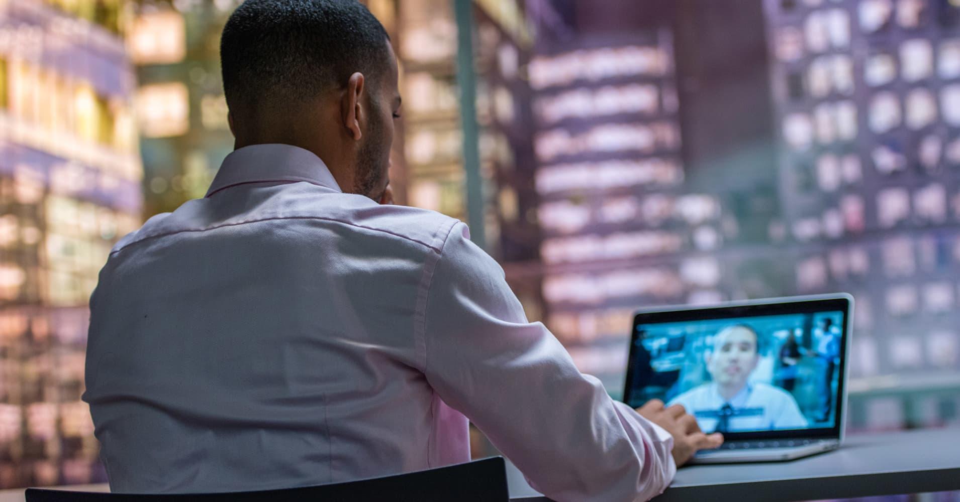 Businessman video conferencing