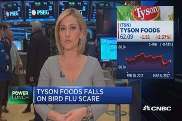Tyson Foods falls on bird flu