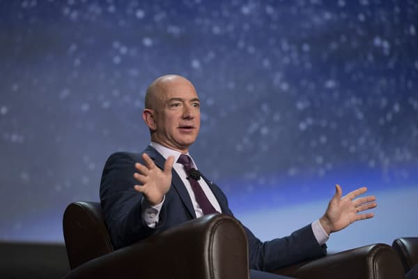 Amazon CEO Jeff Bezos, founder of Blue Origin LLC, speaks at a space symposium in Colorado Springs, Colorado, April 12, 2016.