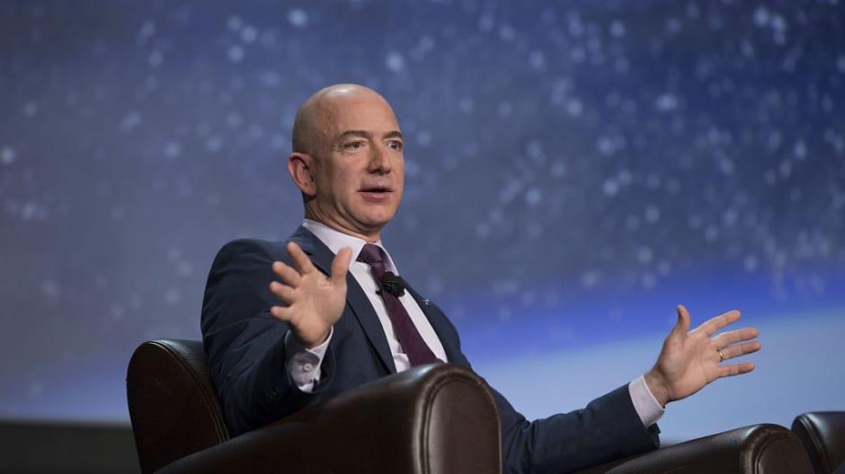 Amazon CEO Jeff Bezos, founder of Blue Origin LLC, speaks at a space symposium in Colorado Springs, Colorado, April 12, 2016.
