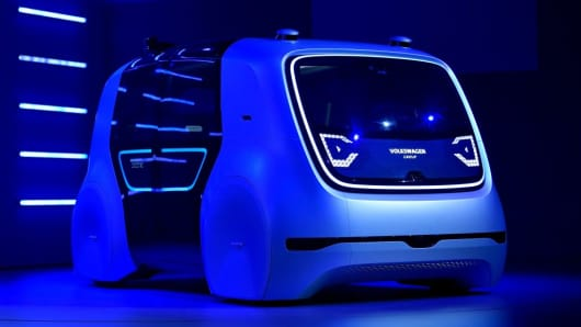 Volkswagen 'Sedric' self-driving automobile is presented during the 87th Geneva International Motor Show on March 6, 2017 in Geneva, Switzerland.