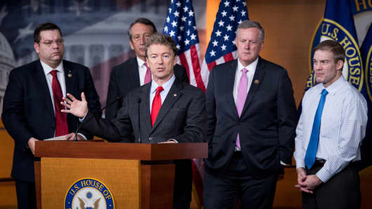 Sen. Rand Paul, R-Ky., speaks during the House Freedom Caucus news conference on Affordable Care Act replacement legislation on Wednesday, Feb. 15, 2017. Behind Sen. Paul from left are Rep. Tom, Garrett, R-Va., Rep. Mark Sanford, R-S.C., Rep. Mark Meadows, R-N.C., and Rep. Jim Jordan, R-Ohio.