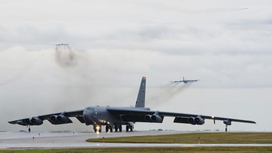 A U.S. Air Force B-52 Stratofortress, part of the country's nuclear triad, is capable of carrying 70,000 pounds of nuclear or precision guided conventional bombs.
