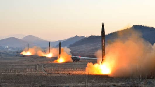 A ballistic rocket launching drill of Hwasong artillery units of the Strategic Force of the KPA in this undated photo released by North Korea's Korean Central News Agency (KCNA) in Pyongyang March 7, 2017.