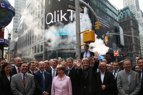 Members of the Qlik team including Managing Partner JVP Erel Margalit and CEO Lars Bjork attend the opening bell for NASDAQ Qlik Technologies.