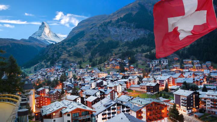 Zermatt village with the peak of the Matterhorn in the Swiss Alps.