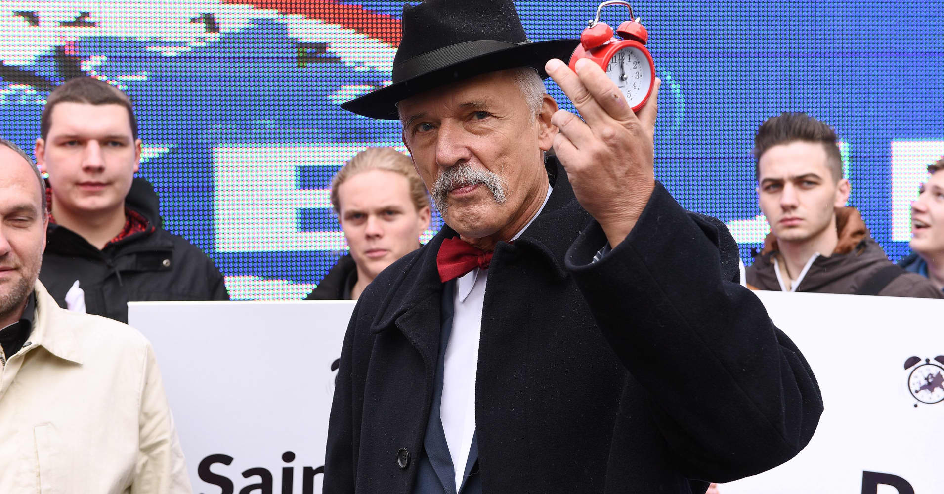 Janusz Korwin-Mikke participates in the 5th March of Freedom and Sovereignty on October 08, 2016 in Warsaw, Poland.