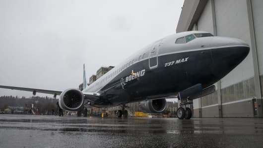 The first Boeing 737 MAX 9 airliner is pictured at the company's factory on March 7, 2017 in Renton, Washington.