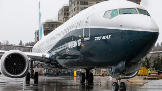 The first Boeing 737 MAX 9 airliner is pictured at the company's factory on March 7, 2017 in Renton, Washington. The 737 MAX 9, which can carry up to 220 passengers, is the second of three variants of the popular single-aisle model.