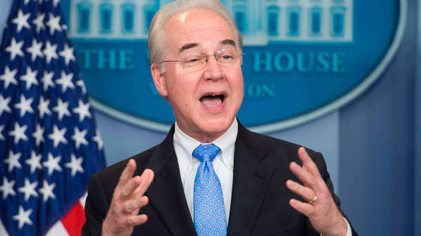 Secretary of Health and Human Service Tom Price speaks during the daily briefing at the White House in Washington, DC, March 7, 2017.