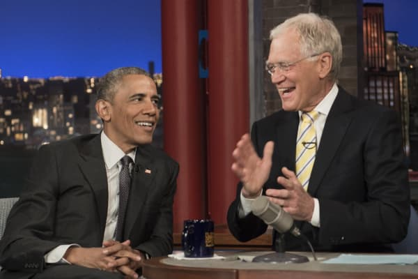 President Barack Obama tapes an appearance on the 'Late Show with David Letterman' on CBS.