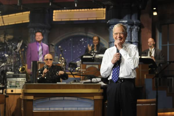 David Letterman and Paul Shaffer after the final taping of the Late Show with David Letterman, Wednesday May 20, 2015 on the CBS Television Network.