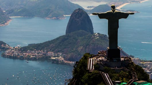 View of with Christ the Redeemer and Sugar Loaf at background
