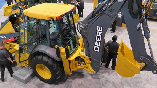 A John Deere excavator on display at the CONEXPO show in Las Vegas.